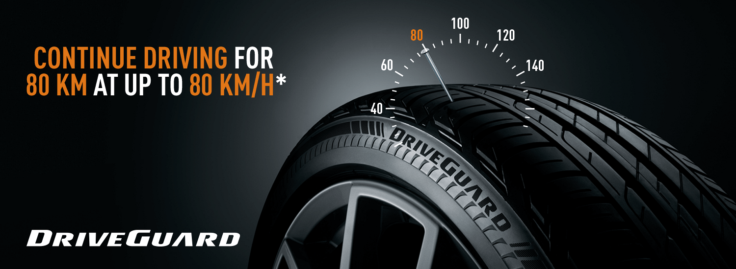 Bridgestone DriveGuard Tyres -  Continue driving for 80km at up to 80km/h